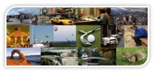 Many tiny images highlighting U.S. travel destinations