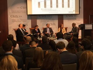 SelectUSA Executive Director Vinai Thummalapally (third from right) participates in a panel discussion hosted by CSIS Americas for the launch of a new report on U.S-Brazil bilateral investment flows.