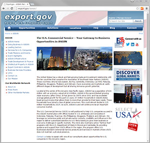 Screenshot of Export.gov/ASEAN