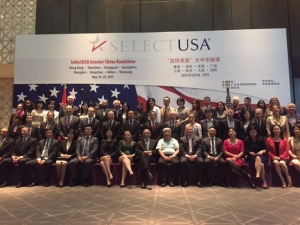 Assistant Secretary for Global Markets and Director General of the U.S. and Foreign Commercial Service Arun Kumar (center) joined representatives from 24 U.S. economic development organizations and their partners for the SelectUSA Greater China Roadshow stop in Guangzhou.