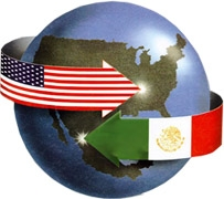 Decoration image of a globe with U.S. and Mexican flags designed as arrows pointing above and below each other