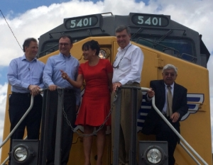Secretary of Commerce Penny Pritzker joined U.S. and Mexican government leaders in Brownsville, Texas, at a ceremony to inaugurate the West Rail Bypass International Bridge, the first new international rail crossing between the United States and Mexico since 1910.