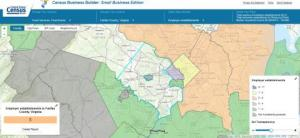 Map Depicting Employer Establishments in Fairfax County, Virginia