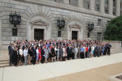 Members of the U.S. and Foreign Commercial Service and headquarters staff gathered for a group photo at the U.S. Department of Commerce in Washington, DC to commemorate the 2014 Global Markets Global Meeting
