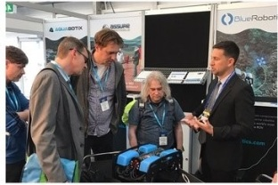 California-based firm, Blue Robotics, pitches their product to potential buyers at Ocean Business.