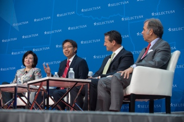 Photo from the 2017 SelectUSA Investment Summit, June 18-20, 2017. Pictured (from left to right): Safra Catz, CEO, Oracle; Gilbert Lee, CFO, Fuling Global, Inc.; Greg Scheu, President, ABB Americas Region; Ludwig Willisch, President, CEO, and Chairman of the Board, BMW (U.S.) Holding Corp.