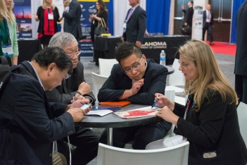 Photo from 2017 SUSA Summit highlighting an individual matchmaking session.
