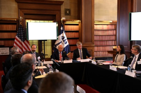 Photo of TFAC meeting in progress, Feb. 22, 2017. From left to right front row: TFAC Chair Kevin Klowden, Commerce Secretary Wilbur Ross, Commerce Deputy Assistant Secretary for Services James Sullivan, Designated Federal Officer for the TFAC Ericka Ukrow.