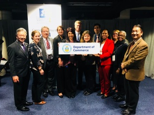Photo of U.S. Commerce Deputy Assistant Secretary for Services James Sullivan (Center, 2nd Row) joining the Commerce Department exhibitor team at the 2018 EXIM Bank Annual Conference in Washington, D.C.