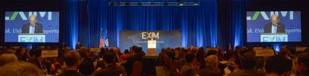 Photo of U.S. Commerce Secretary Wilbur Ross delivering keynote remarks at the 2018 EXIM Bank Annual Conference.