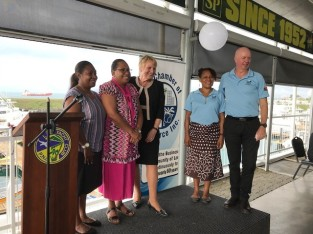 """Representatives of the Lae Chamber of Commerce welcome Ambassador Ebert-Gray and the familiarization tour delegates. Lae is the second largest city in Papua New Guinea."""