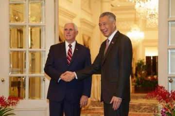 Vice President Pence with Singapore Prime Minister Lee during his November 2018 visit to Singapore for the ASEAN and East Asia Summits where they jointly announced a commercial collaboration memorandum of understanding.