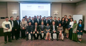 Deputy Chief of Mission at U.S. Embassy Singapore Daniel Bischof (middle), U.S. Department of Commerce staff, presenters, and participants at an ASEAN Smart Cities Third Country Training Program event in Singapore, December 2019.