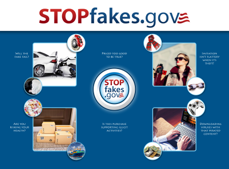 Stopfakes medley of Intellectual Property images