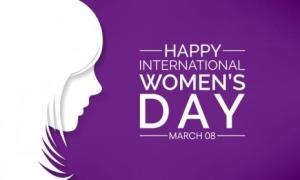 Image showing outline of a women with the words Happy International Women's Day March 8