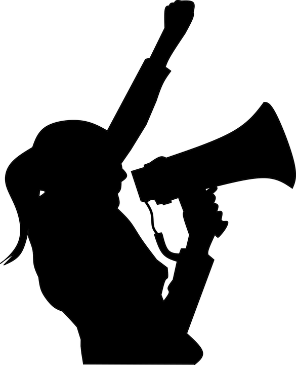 Silhouette image of women holding megaphone.