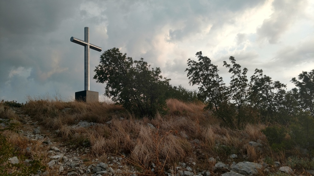 A stainless steel cross memorializes Secretary Ronald H. Brown and 34 others in Croatia.