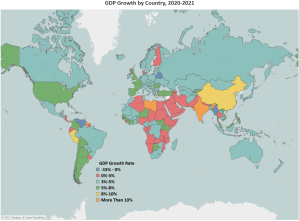 A heatmap of global GDP growth rates for 2021. Relatively few countries are projected to continue to suffer negative growth rates over the next year. Many countries, especially across Africa and the Middle East, are predicted to see modest growth up to 3 percent. Advanced economies are projected to see mainly between 3 and 5 percent, while a very select few, including China, are projected to show more than 8% growth.