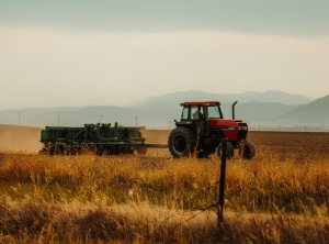 An image of a tractor in a field